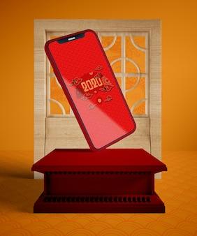 Maqueta de teléfono para año nuevo chino