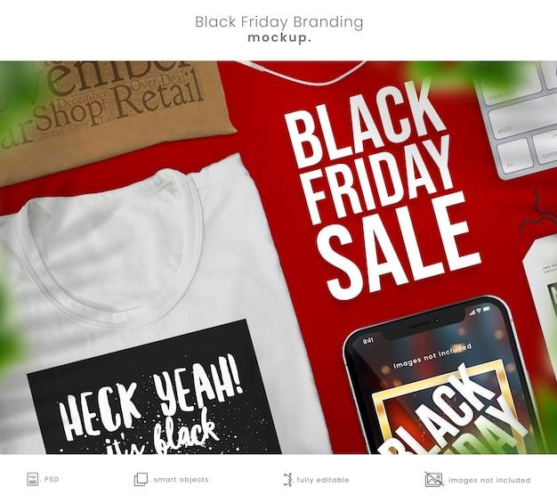 Maqueta de teléfono de black friday y maqueta de diseño de camiseta para la marca de la tienda