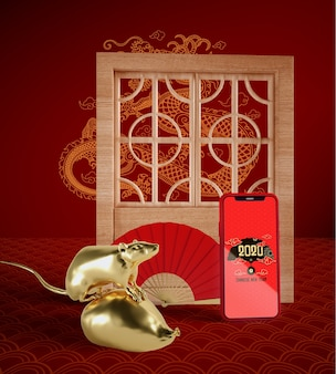 Maqueta de teléfono con elementos tradicionales chinos