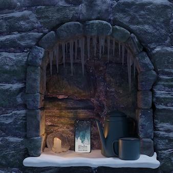 Maqueta de teléfono y hervidor de agua colocados en la chimenea