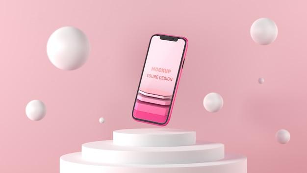 Maqueta de teléfono inteligente 3d sobre pedestal blanco