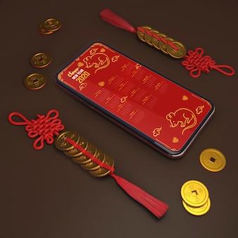 Maqueta de teléfono inteligente y adornos para año nuevo