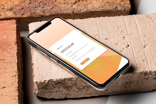 Maqueta de teléfono inteligente de ángulo alto