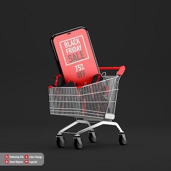 Maqueta de teléfono inteligente para black friday dentro del carrito de compras y caja de regalos