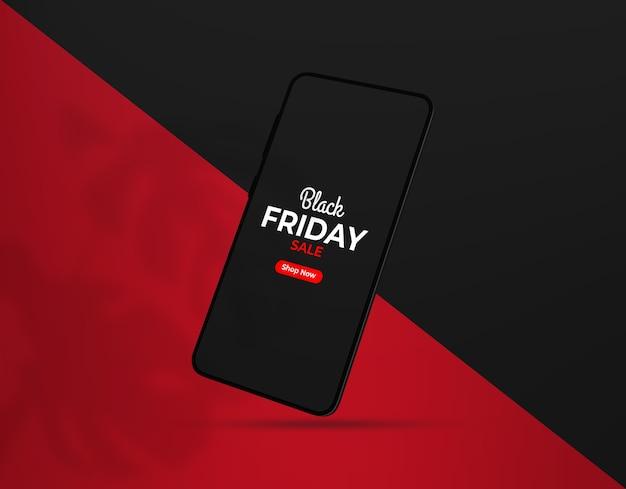 Maqueta de teléfono inteligente black friday flotante