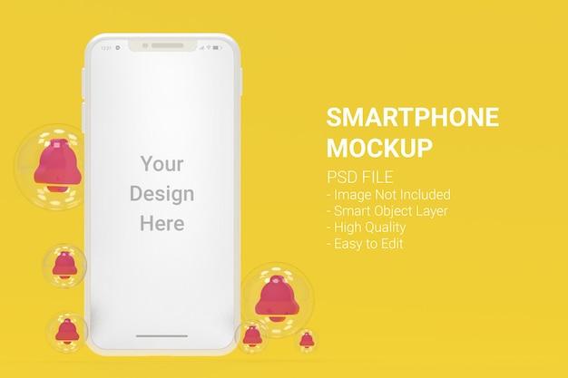 Maqueta de teléfono inteligente blanco con alarmas