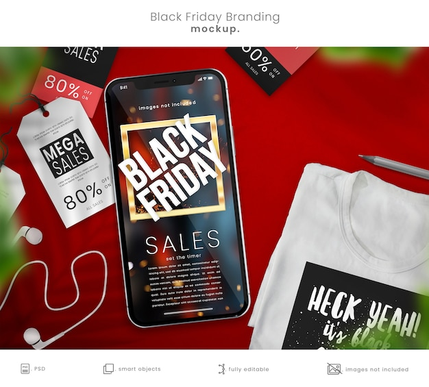 Maqueta de teléfono inteligente y camiseta para black friday