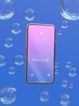 Maqueta de teléfono inteligente con elementos dinámicos líquidos