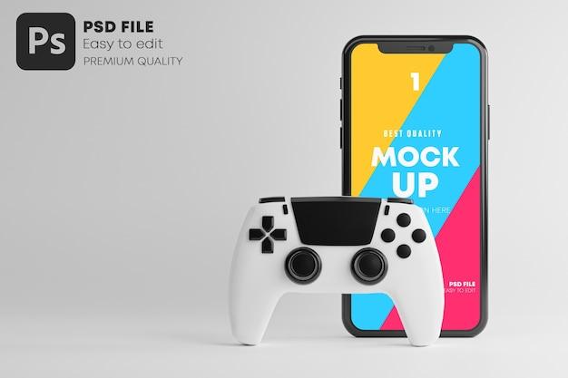 Maqueta de teléfono inteligente para gamepad