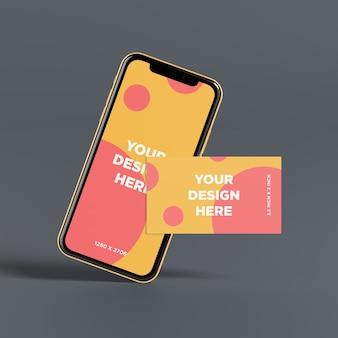 Maqueta de teléfono inteligente lista para usar con vista frontal de la tarjeta de negocios
