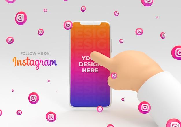 Maqueta de teléfono inteligente con mano de dibujos animados con reder 3d de redes sociales de instagram