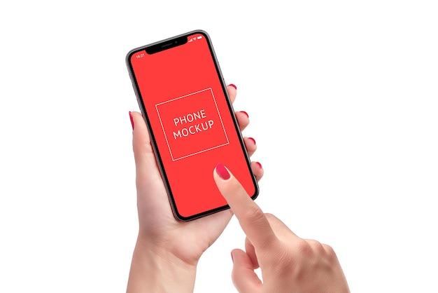 Maqueta de teléfono inteligente en manos de mujer