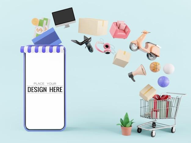 Maqueta de teléfono inteligente con pantalla en blanco con compras en línea