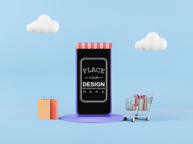 Maqueta de teléfono inteligente de pantalla en blanco con concepto de compra en línea