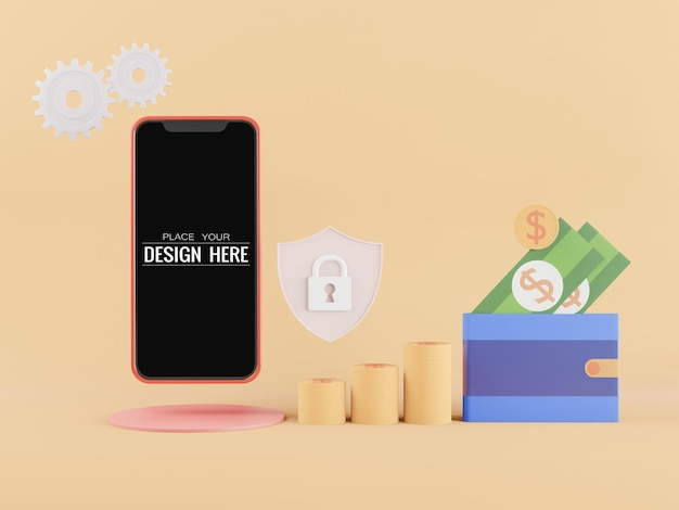 Maqueta de teléfono inteligente de pantalla en blanco con concepto de seguridad bancaria
