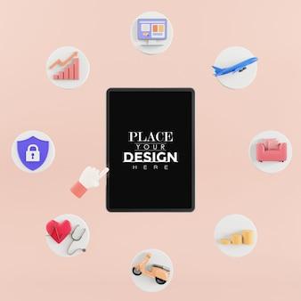 Maqueta de teléfono inteligente de pantalla en blanco con diferentes elementos