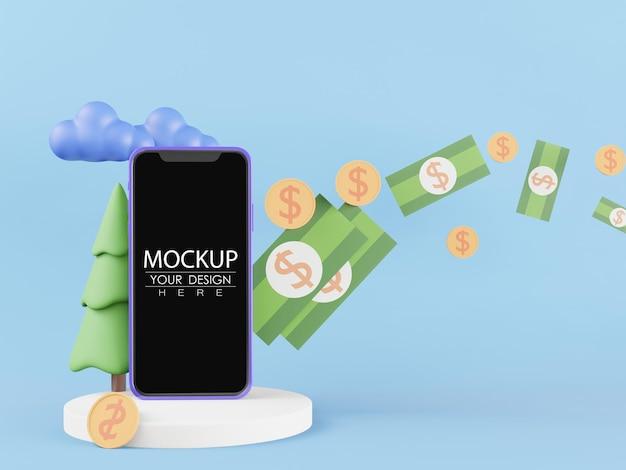 Maqueta de teléfono inteligente de pantalla en blanco con dinero