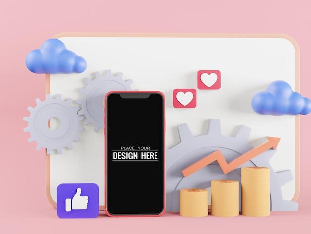 Maqueta de teléfono inteligente de pantalla en blanco con gráficos y engranajes