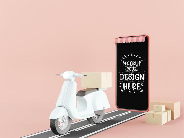 Maqueta de teléfono inteligente de pantalla en blanco con motocicleta