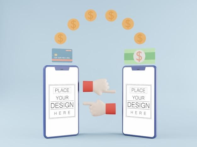 Maqueta de teléfono inteligente de pantalla en blanco con transferencia de dinero