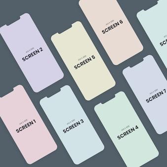 Maqueta de teléfono inteligente de pantalla múltiple