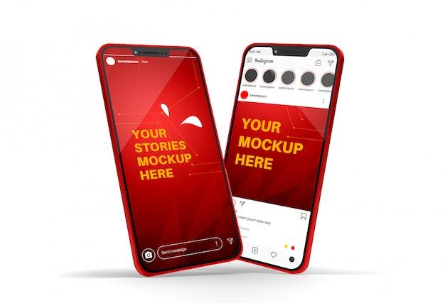 Maqueta de teléfono inteligente con publicación de instagram e historias