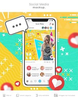 Maqueta de teléfono inteligente de redes sociales