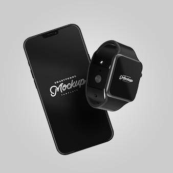 Maqueta de teléfono inteligente y reloj inteligente