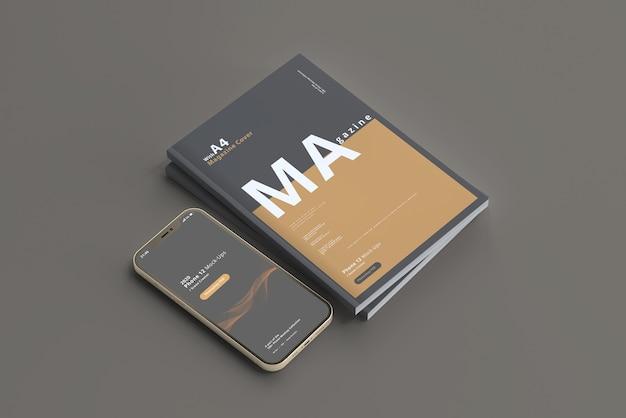 Maqueta de teléfono inteligente con revista