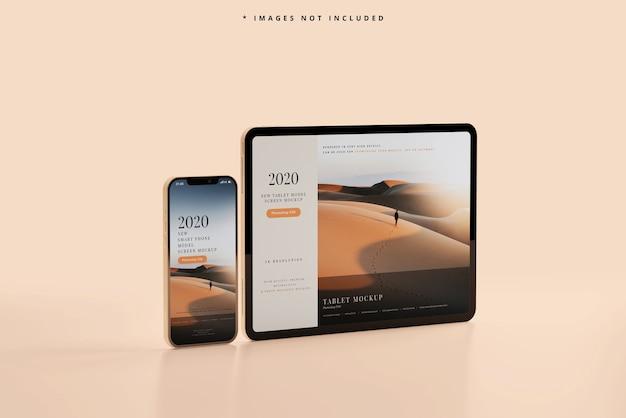 Maqueta de teléfono inteligente y tableta
