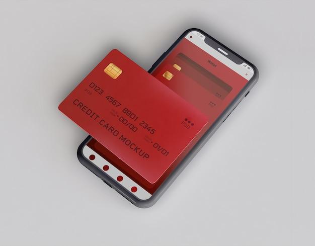 Maqueta de teléfono inteligente y tarjeta de crédito