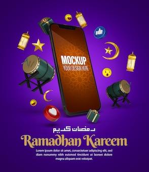 Maqueta de teléfono islámico ramadan kareem para publicación en redes sociales y plantilla de promoción de marketing