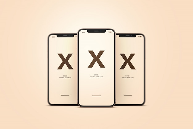 Maqueta de teléfono móvil dorado