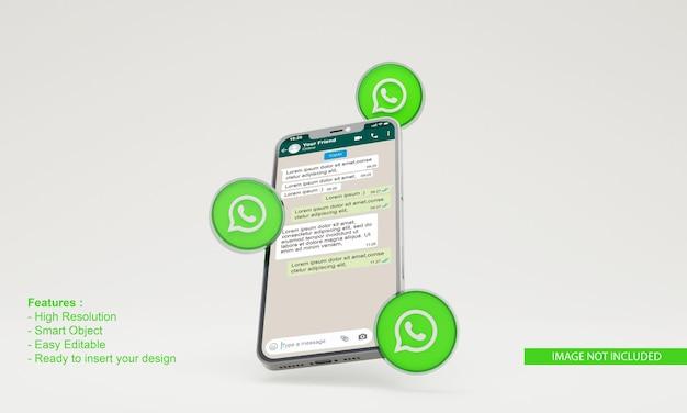 Maqueta de teléfono móvil de ilustración de whatsapp de icono de render 3d