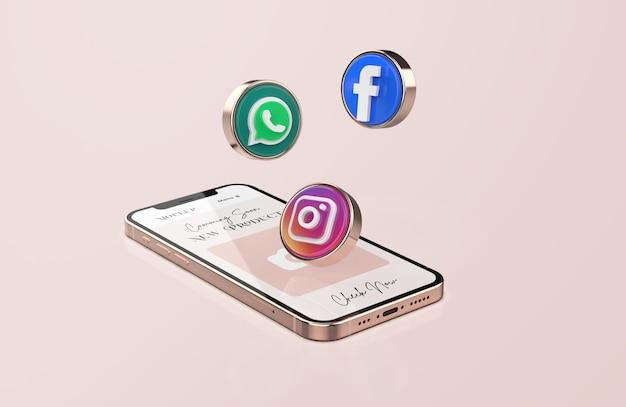 Maqueta de teléfono móvil de oro rosa con iconos de redes sociales 3d