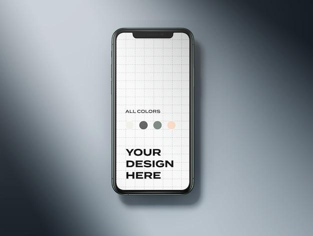 Maqueta de teléfono móvil de vista superior