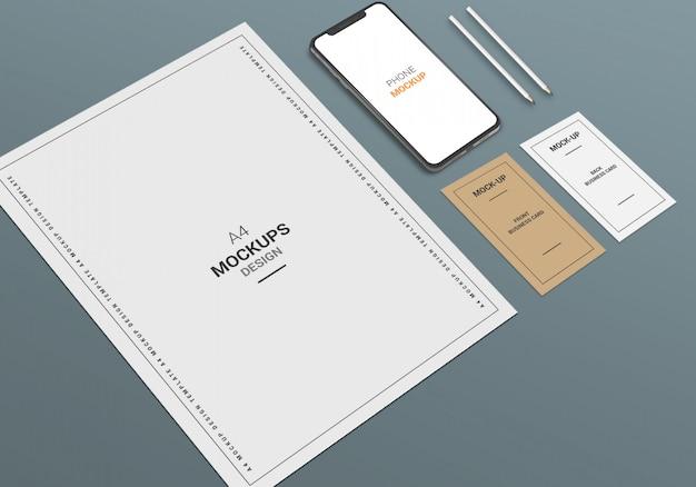 Maqueta de teléfono de página a4 y tarjeta de visita