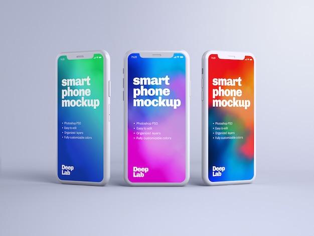 Maqueta de teléfono con pared editable