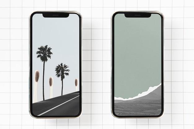 Maqueta de teléfonos con fondo de pantalla de escena de naturaleza mínima