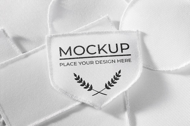 Maqueta textil de parche de ropa blanca