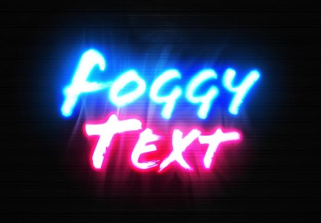 Maqueta de texto de letrero de neón con efecto de niebla brillante