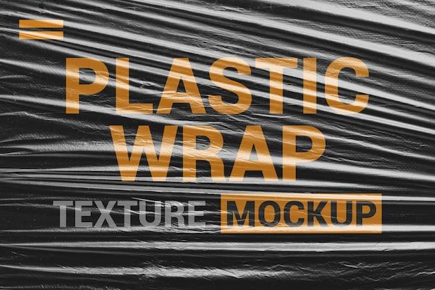 Maqueta de textura de envoltura de plástico transparente