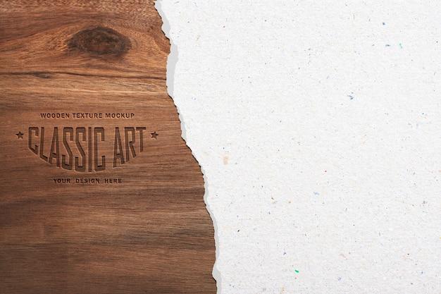 Maqueta de textura de madera y efecto de texto de madera grabado