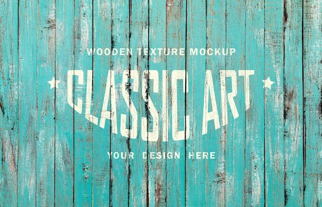 Maqueta de textura de madera vintage y efecto de texto pintado de madera