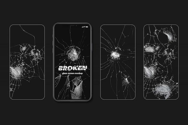 Maqueta de textura de pantalla de vidrios rotos