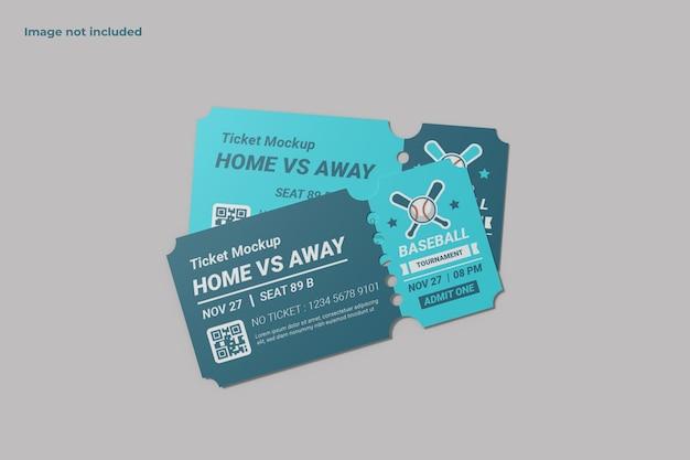 Maqueta de ticket de vista superior para mostrar su diseño