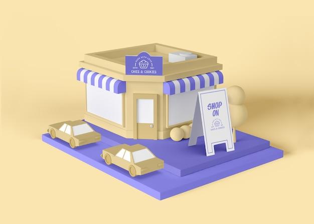 Maqueta de tienda de publicidad exterior