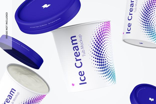 Maqueta de tina de papel para helado de 500 ml flotante