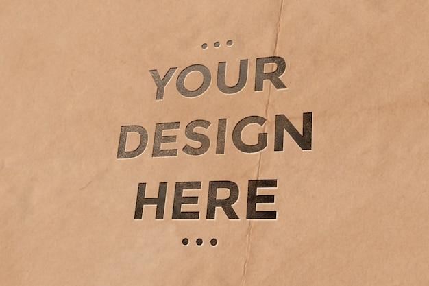 Maqueta de tipografía de bolsa de papel