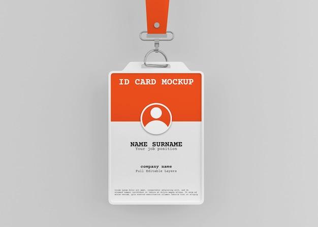 Maqueta de titular de tarjeta de identificación de oficina corporativa con cordón